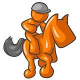 Orange man horse riding. Cartoon of an orange man riding a horse Royalty Free Stock Photo