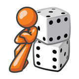 Orange Man Leaning Against Dice Stock Image