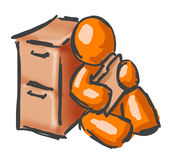 Orange man leaning on cabinet. An illustration of a abstract orange man, leaning against a two-draw filing cabinet and looking through a file folder of documents Royalty Free Stock Photo