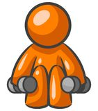 Orange man lifting weights. An illustration of an orange figure, squatting as it lifts weights with both hands Stock Photo