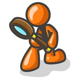 Orange Man With Magnifier. Orange man stick figure holds a magnifying glass and appears to be looking toward the ground Royalty Free Stock Images