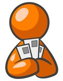 Orange Man with Mail. An orange mail holing several pieces of mail Stock Images