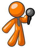 Orange man with a microphone Royalty Free Stock Photo