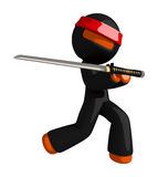 Orange Man Ninja Warrior Elegant Sword Pose Royalty Free Stock Photo