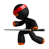 Orange Man Ninja Warrior Stealth with Sword Stock Photography