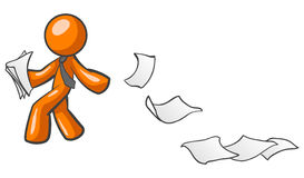 Orange man with papers. An orange man wearing a tie walking and leaving a paper trail Royalty Free Stock Photo