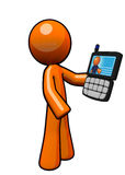 Orange Man with PDA. An orange man holding a pda smart phone Royalty Free Stock Image