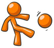 Orange man playing football. Cartoon of an orange man kicking a football Royalty Free Stock Images