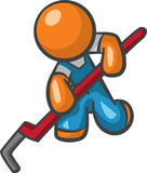 Orange Man Plumber with Pipe Wrench. Working Royalty Free Stock Photography