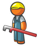 Orange Man Plumber with Pipe Wrench Royalty Free Stock Images