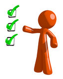 Orange Man Pointing Green Checkmark List Stock Photography
