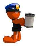 Orange Man Police Officer Asking for Charity Royalty Free Stock Photos