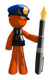 Orange Man Police Officer Holding Fountain Pen Stock Images