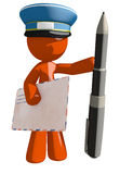 Orange Man Postal Mail Worker with Pen and Envelope Royalty Free Stock Image