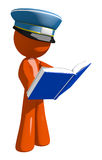 Orange Man Postal Mail Worker Standing Reading Book Stock Photography