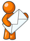 Orange man postman. Cartoon of an orange man with a large envelope in his hands vector illustration