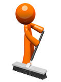 Orange Man Pushing a Broom, Sweeping Stock Photos