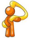 Orange man and question. Cartoon of an orange man carrying a big yellow question mark Stock Images