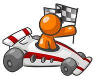 Orange man in race car. An illustrated view of an abstract orange man in a white and red race car, carrying a checkered flag Royalty Free Stock Photo