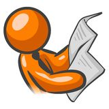 Orange man reading newspaper Royalty Free Stock Photography