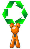 Orange man and recycle sign. Cartoon of an orange man holding a big recycle symbol over his head Royalty Free Stock Photography
