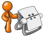 Orange man and Rolodex. An illustrated figure of an orange businessman with tie, reaching out to a large Rolodex Stock Photos