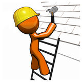 Orange Man Roofer with Hammer Hard Hat and Ladder Stock Image