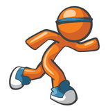 Orange Man Running with Blue Shoes Stock Photography