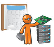 Orange Man Scheduled Maintenance. He is holding a mother board, beside a stack of servers, with a schedule behind him Stock Images