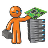 Orange Man Server Technician Royalty Free Stock Image
