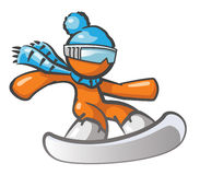 Orange Man Snow Boarding Stock Photography