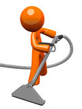 Orange Man with Steam Cleaner Carpet Wand Stock Photography