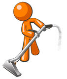 Orange Man with Steam Cleaner Carpet Wand. Extracting floor Stock Photos