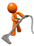Orange Man with Steam Cleaner Carpet Wand. Extracting floor Royalty Free Stock Images