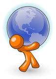 Orange man supporting globe Royalty Free Stock Photo