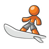 Orange Man surfing on a surf board. Royalty Free Stock Photography