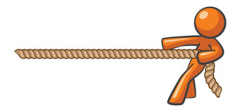 Orange Man Tug of War. Orange Man tugging a rope, tug of war concept, winning against all odds Stock Photography