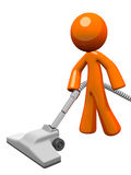 Orange Man Vacuuming 3d Render Royalty Free Stock Image
