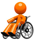 Orange Man in Wheel Chair Disabled or Impaired Royalty Free Stock Photo