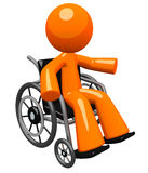 Orange Man in Wheel Chair Gesturing to Audience Stock Images