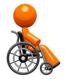 Orange Man In Wheel Chair Side View Stock Photography