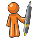 ORange Man wiht Big Pen Stock Photos