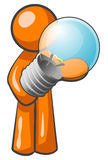 Orange Man With Bulb Stock Photography