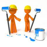 Orange Man and Woman Painters with Hard Hats Royalty Free Stock Photography