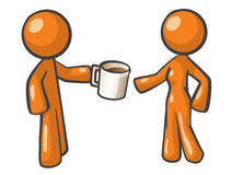 Orange Man and Woman Sharing Coffee. Stock Photo