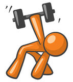 Orange Man Working out with Dumb Bells Stock Photography
