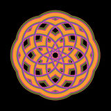 Orange Mandala. An abstract fractal illustration in a mandala shape that is done in orange, purple, and green stock illustration