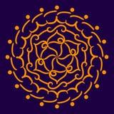Orange Mandala auf einem dunkelblauen Hintergrund Lizenzfreie Stockfotos