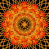 Orange mandala for energy obtaining, meditation element Royalty Free Stock Image