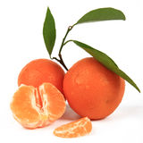 Orange, mandarin. Slices and leaves stock photography
